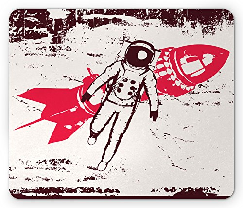 Red Solar Earth (Vintage Mouse Pad by Lunarable, Retro Space Travel Astronaut over Planet Earth Original Solar Futuristic Art, Standard Size Rectangle Non-Slip Rubber Mousepad, Red Brown Cream)