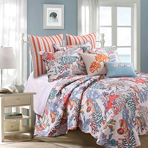 Beach Piece Set 5 (5 Piece Orange Multi Coastal Pattern Quilt King Set, Bright Deep Sea Coral Floral, Seashells Print, Whimsical Beach Shore Theme, Stripes Design Reversible Bedding, Abstract Colors, Cotton, Polyester)