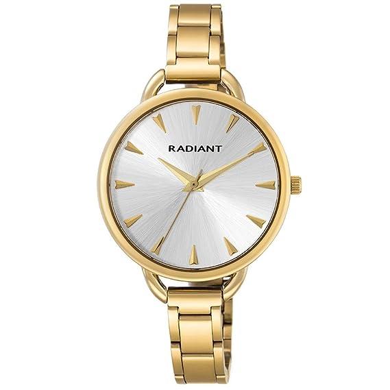 Reloj Radiant. Señora. Acero IP dorado. Esfera plata.: Amazon.es: Relojes