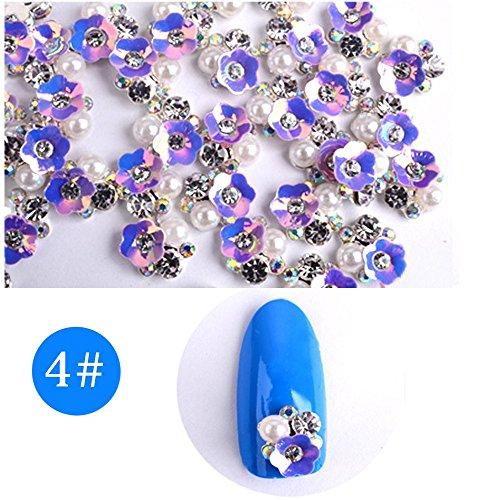 Oceaneshop 10Pcs Beautiful Manicure Fashion 3D Flower Crystal Pearl Nail Art Sticker Fingernail Decoration
