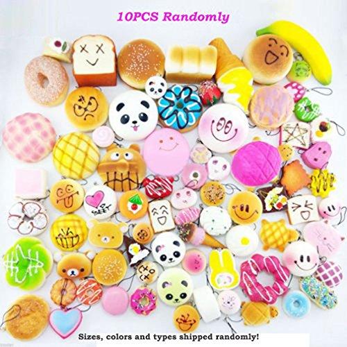 Bingole 10PCS Kawaii Random Squishy Soft Panda Bread Buns Donuts Toasts Toys Bag Phone Strap Pendants Charms