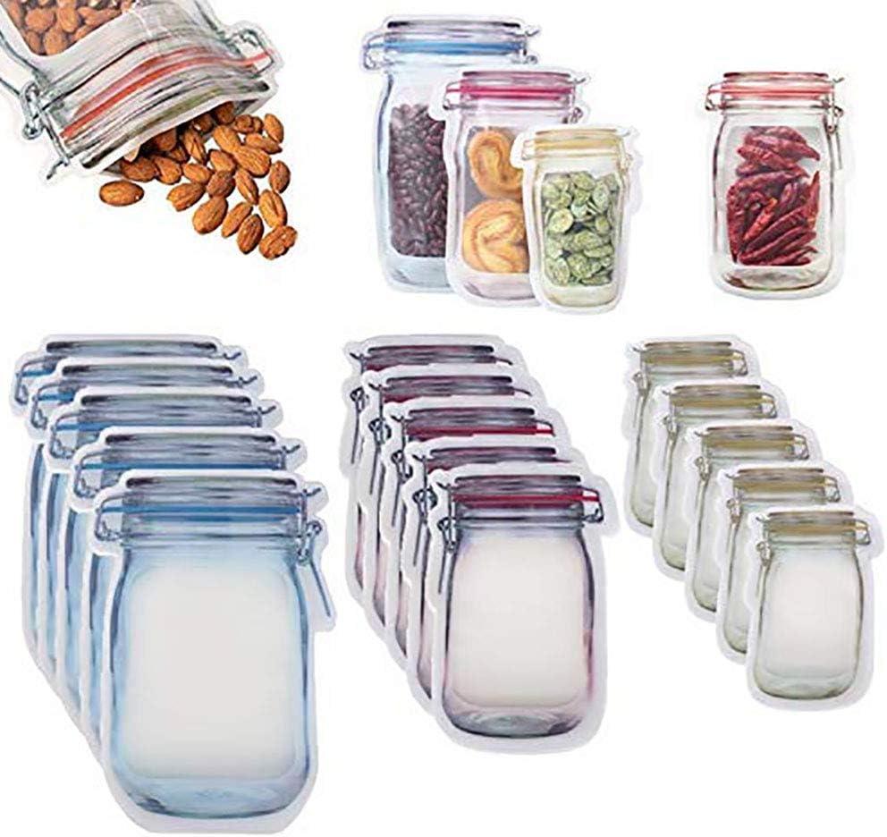 Mason Jar Zipper Bags Food Storage Snack Ziplock Bags Reusable Seal Food Storage Bags Leakproof Food Saver Fresh Sealed Bags for Sandwich Tea Candy Cookies (Sx10+Mx10+Lx10)