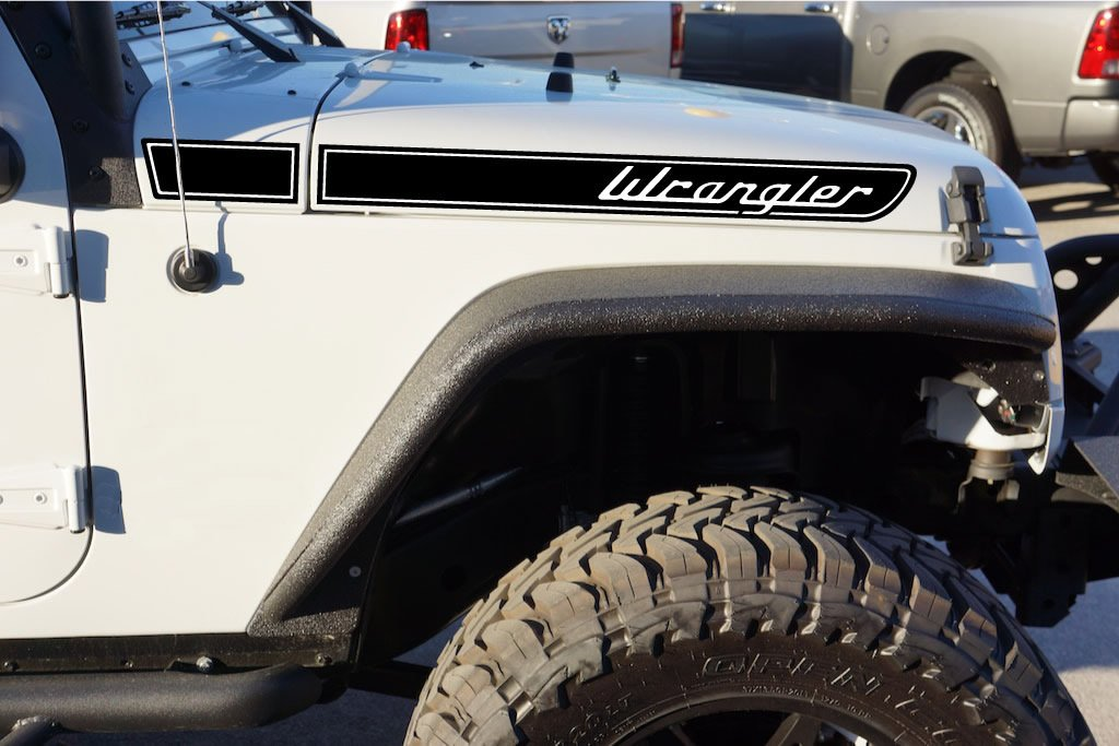 Amazon.com: The Pixel Hut gs00094 Matt Black Wrangler Retro Hood Decals for Jeep  Wrangler JK (2007-2018): Automotive