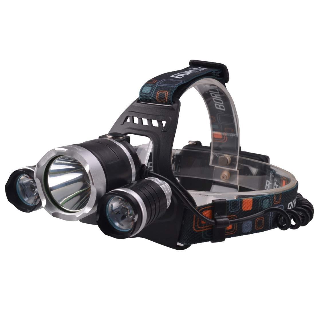 Anstorematealliance Led light LEDライトRichFire SF-555E CREE XML T6クールホワイトLEDヘッドライト、ハイ/ミドル/ロー/ストロボモード付き3 LED 2250 LM、ヘッドバンド長:40cm(ブラック+シルバー) B07QVBX1FC