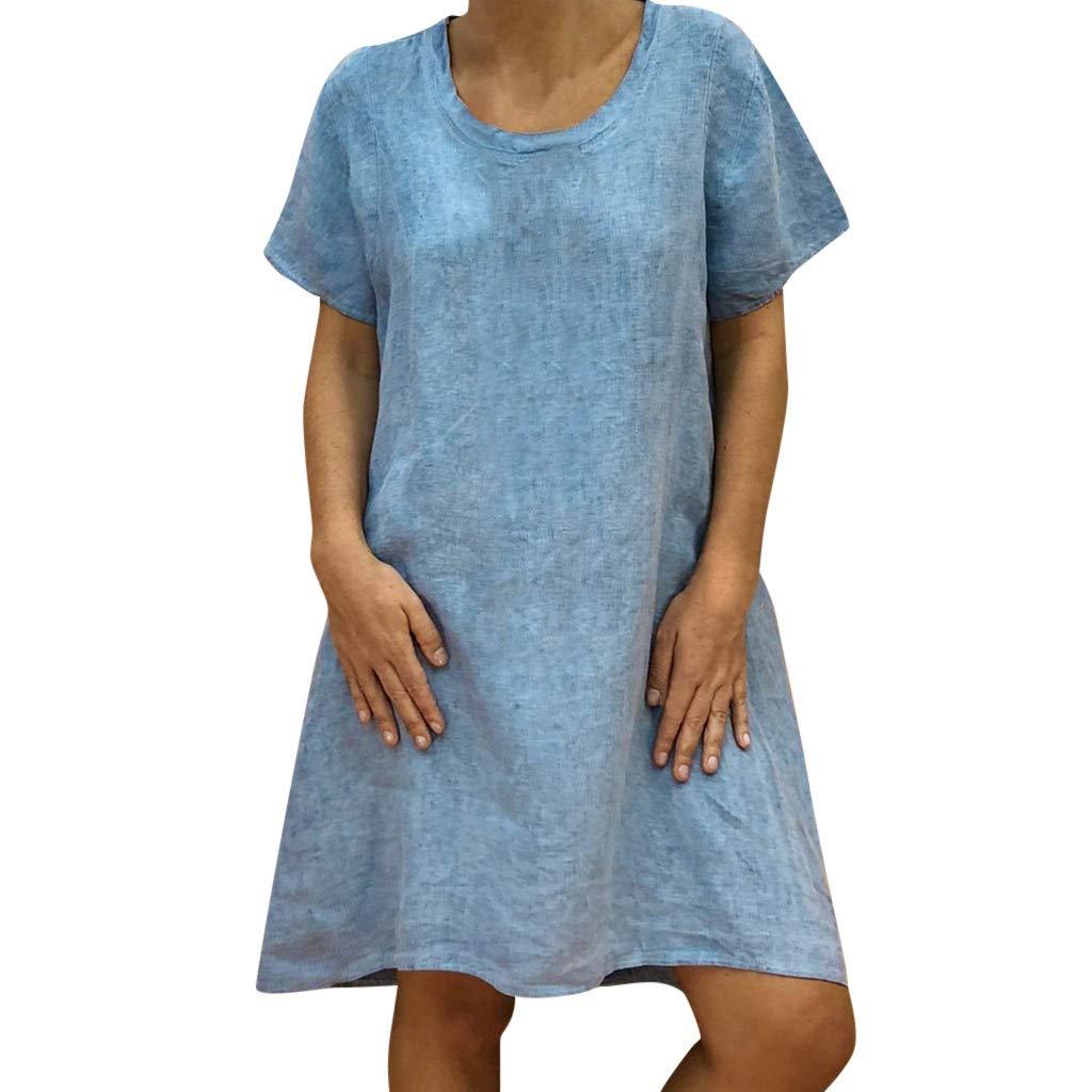 Zaidern Women Dress Women's O Neck Casual Solid Above Knee Dress Sleeve Loose Party Mini Dresses Sundress Blue