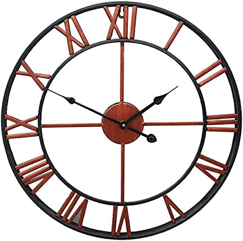 Homkoo Large Wall Clock 45CM Big Roman Numerals Giant Open Face Metal Bronze