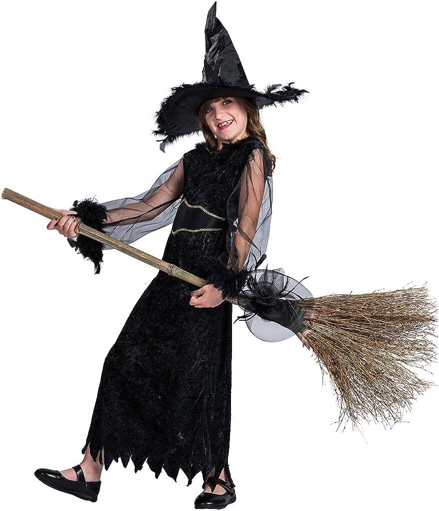 FantastCostumes Disfraz de Bruja con Plumas para Halloween, Negro ...