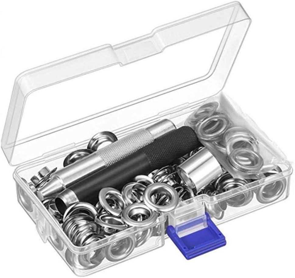 1//2 Inch Inside Diameter Grommet Kit Metal Eyelet Tool Kit Tarpaulin Eyelet Kit 100 Sets Grommets Eyelets with Storage Box