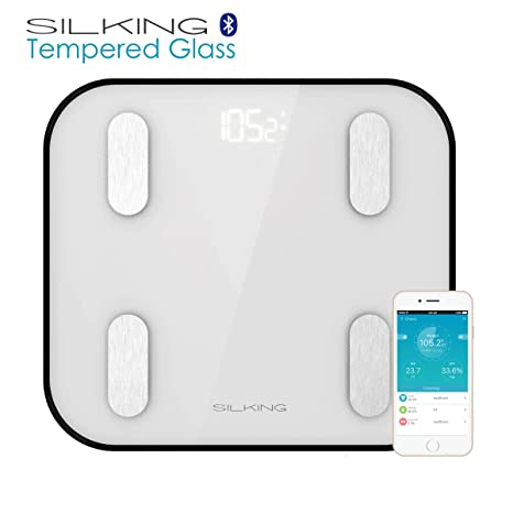 Silking Bluetooth basculas de baño grasa corporal escala con iphone y Android App, smart familia