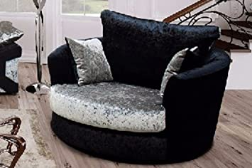 Magnificent Vargas Crushed Velvet Fabric Swivel Chair Sofa Armchair Black And Silver Evergreenethics Interior Chair Design Evergreenethicsorg