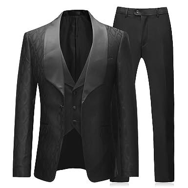 b32d0404c4a Boyland Mens 3 Pieces Tuxedos One Button Shawl Lapel Wedding Dress Suits  Formalwear Black