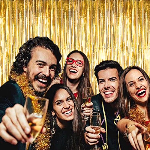 Metallic Gold Fringe Curtain Backdrop - 2 Pack (3.3ft x 8 ft) Metallic Tinsel Shinny Curtain Hanging Gold Backdrops For a Party, Birthday, Weddings, Bachelorette Decorations