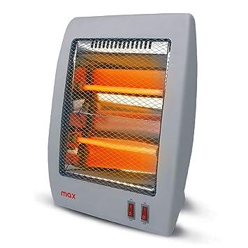 Estufa de cuarzo Max con 2 elementos calefactores doble potencia selezionabile 400 800 W y asa para el transporte Color Gris Tamaño 36 x 28 x 11 cm: ...