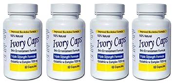 (Pack of 4) - Ivory Caps Skin Whitening Glutathione 240 Pills Vanderbilt Commodores 2 Pack Lip Balm - Black