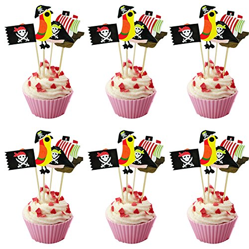 40pcs Pirate Cake Topper Decorations Cupcake Topper Food Picks for Theme Party Birthday
