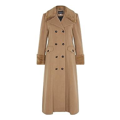 4e12af49b De la Creme - Camel Women`s Winter Wool Cashmere Military Coat Faux Fur  Collar