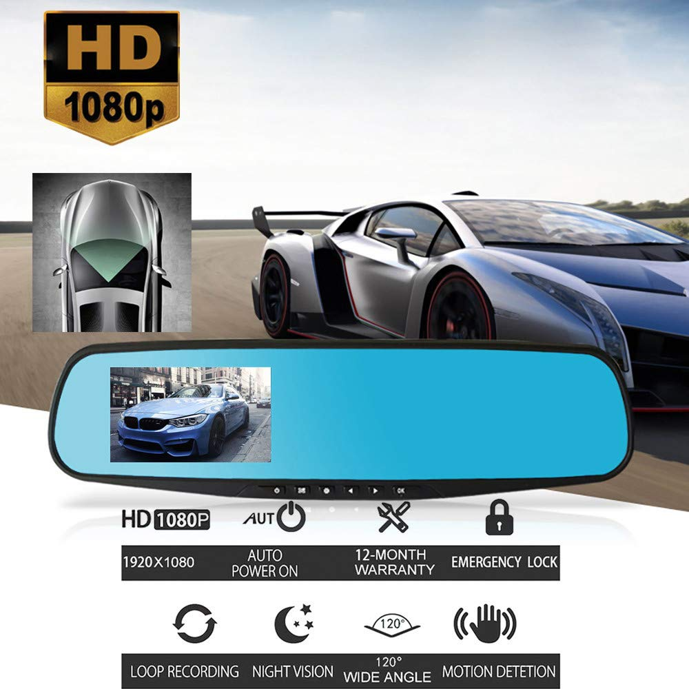 1080P HD Car Dual Dash Cam Front and Rear Dual DVR Lens Video Recorder Coerni