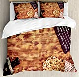 Movie Theater Queen Size Duvet Cover Set by Ambesonne, Retro Cinema Objects on a Wooden Table Top View Analog Vintage Technology, Decorative 3 Piece Bedding Set with 2 Pillow Shams, Multicolor