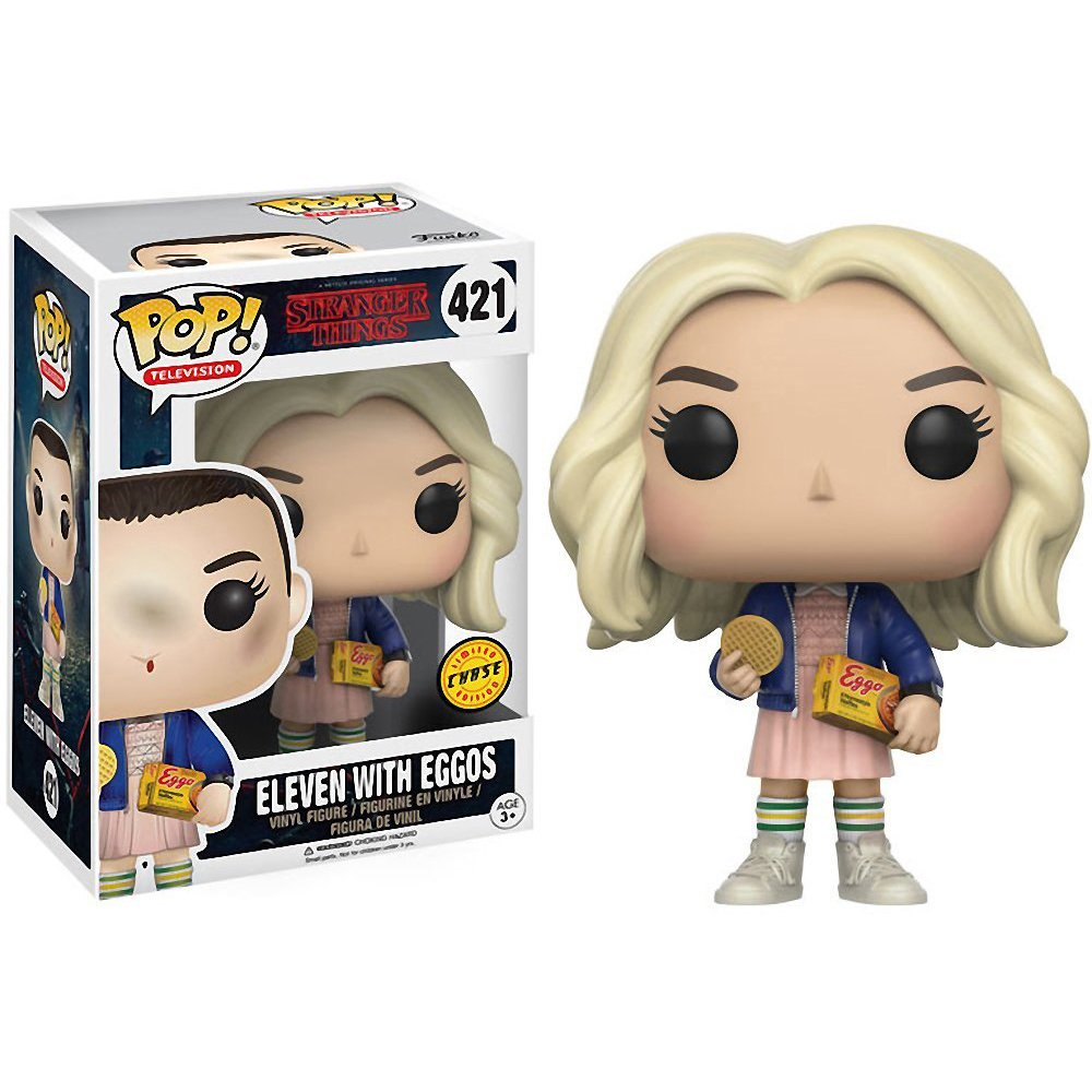 TV Vinyl Figure /& 1 PET Plastic Graphical Protector Bundle with Eggos Funko Eleven : Stranger Things x POP BCC940J34 Chase Edition #421 // 13318 - B