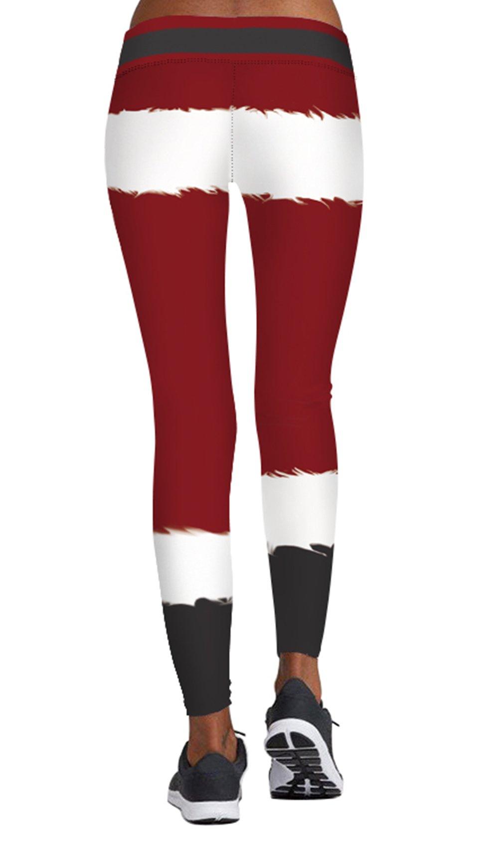 DawnRaid Santa Claus Funny Print Leggings for Christmas Party Costume Cute Cosplay Dress