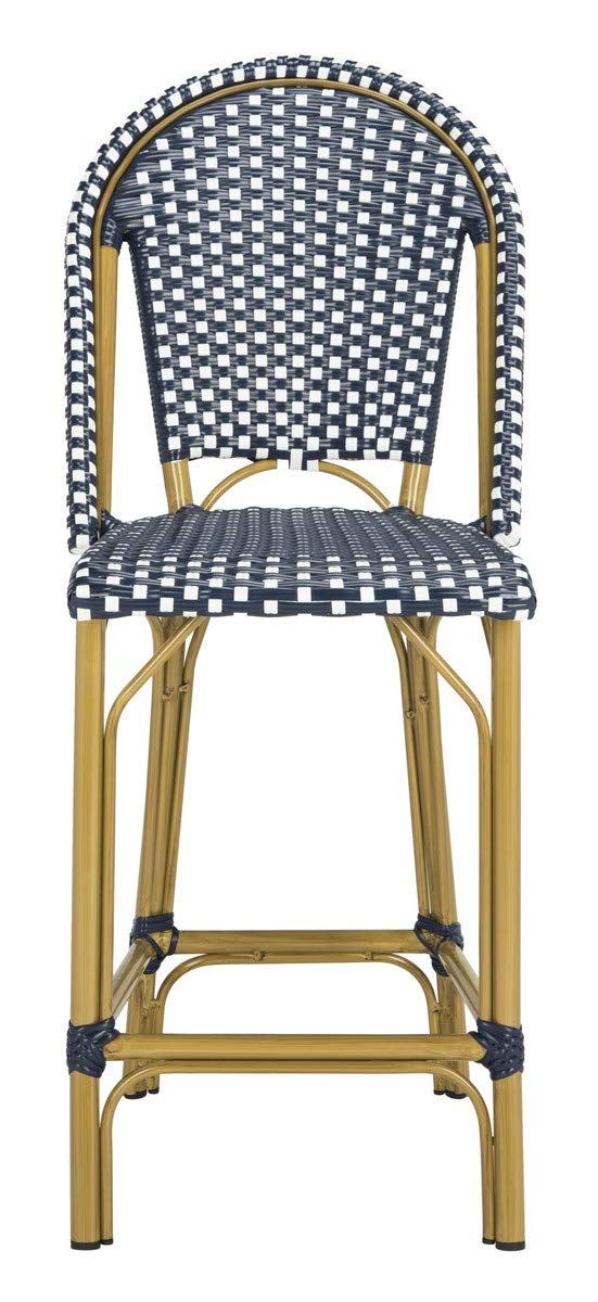 Safavieh PAT4019A Collection Gresley Navy and White Indoor/Outdoor Stacking French Bistro Counter Stool by Safavieh