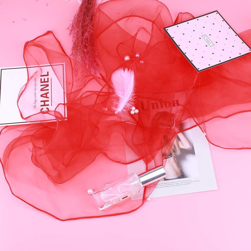 LUVODI 100PCS Organza Lazo para Silla Cinta Decorativa para Silla Cubiertas de Silla de Arco para Boda Fiesta Banquete Aniversario Navidad Color Rojo