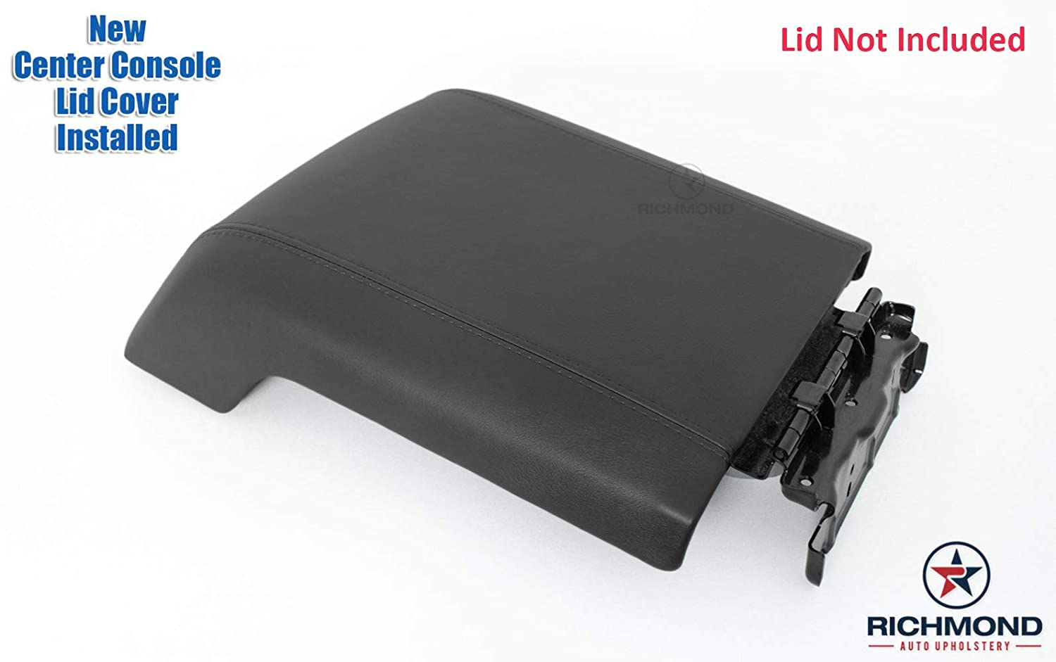 Center Console Lid Replacement Cover Compatible with 2014 Ford F-250 F-350 Lariat Richmond Auto Upholstery Black