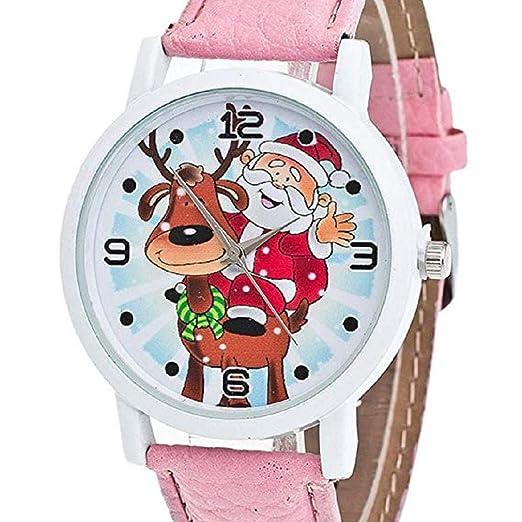 Scpink Mujeres Navidad Ancianos y Elk Patrón Nueva Analógica Relojes de Pulsera Relojes de niña Relojes de Cuero para Mujer (Rosa): Amazon.es: Relojes
