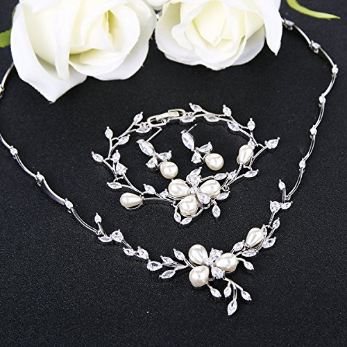 EVER FAITH Marquise CZ Simulated Pearl Bridal Flower Leaf Filigree Necklace Earrings Bracelet Set 3
