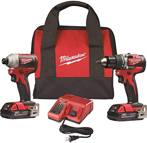 Milwaukee 2892-22CT M18 Compact Brushless 2-Tool Combo Kit, Drill Driver Impact Driver