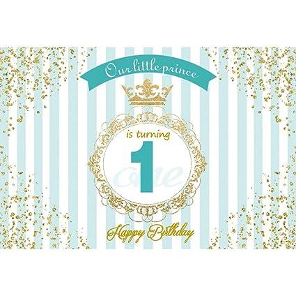 Cassisy 3x2m Vinilo 1er cumpleaños Telon de Fondo Feliz cumpleaños Fondo de Pantalla de Prince Crown Blue Stripes Fondos para Fotografia Party bebé ...