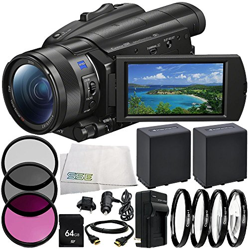 Sony FDR-AX700 4K Camcorder 9PC Accessory Bundle – Includes 2X Replacement Batteries + AC/DC Rapid Home & Travel Charger + ()