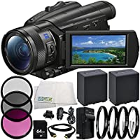 Sony FDR-AX700 4K Camcorder 9PC Accessory Bundle – Includes 2x Replacement Batteries + AC/DC Rapid Home & Travel Charger + MORE