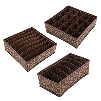 Tela plegable caja de almacenaje closet cajonera organizador cubo divisor cesta papeleras contenedores con cajones para la ropa interior, Bras, ...