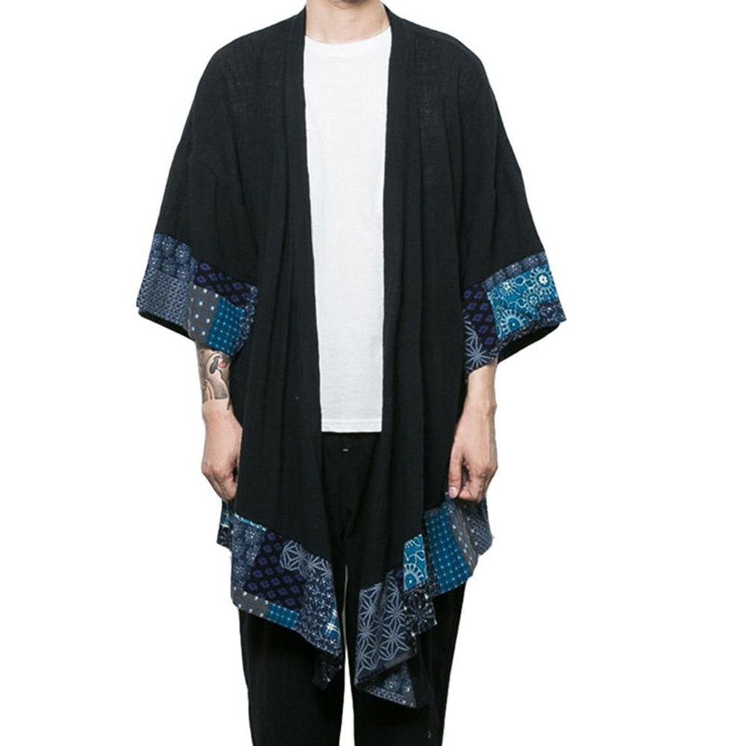 JINIDU Men's Cardigan Lightweight Cotton Kimono Style Cloak Open Front Cape by JINIDU