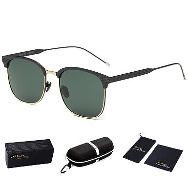 17ee49420c Dollger Classic Polarized Clubmaster Sunglasses Horn Rimmed Half Frame  (Crystal Green Lens + Black Frame