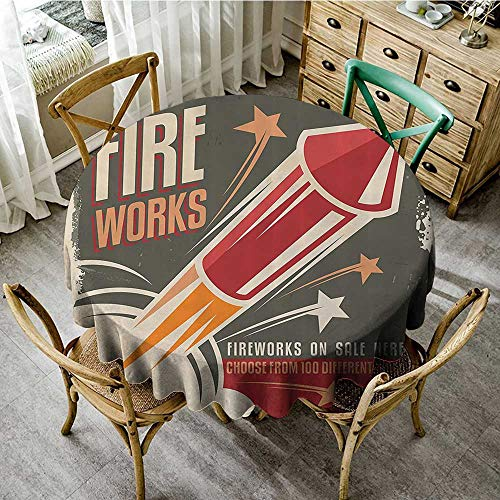 familytaste Wrinkle Free Tablecloths Vintage Decor Collection,Retro Fireworks in Vintage Paper with Stars Rockets Western Halloween Illustration,Gray Red D 60