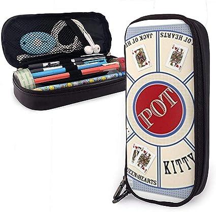 Estuche de lápices de cuero, nuevo juego de cartas de tela Rummy Royal Game Estuche de lápices Papelería Bolsa Cremallera Bolsa Estuche de lápices: Amazon.es: Oficina y papelería
