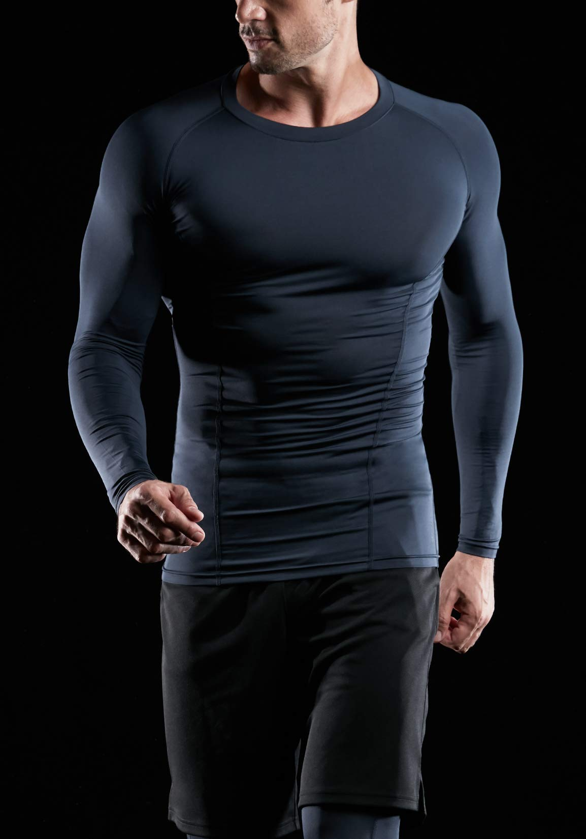 ATHLIO AO-BLS01-KCW_Large Men's (Pack of 3) Cool Dry Compression Long Sleeve Baselayer Athletic Sports T-Shirts Tops BLS01 by ATHLIO (Image #4)