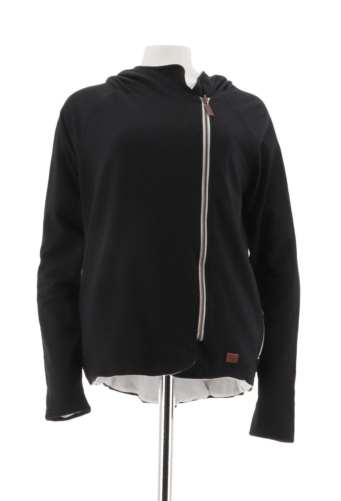 Peace Love World Reversible Zip Hooded Jacket A290290, Black White, L