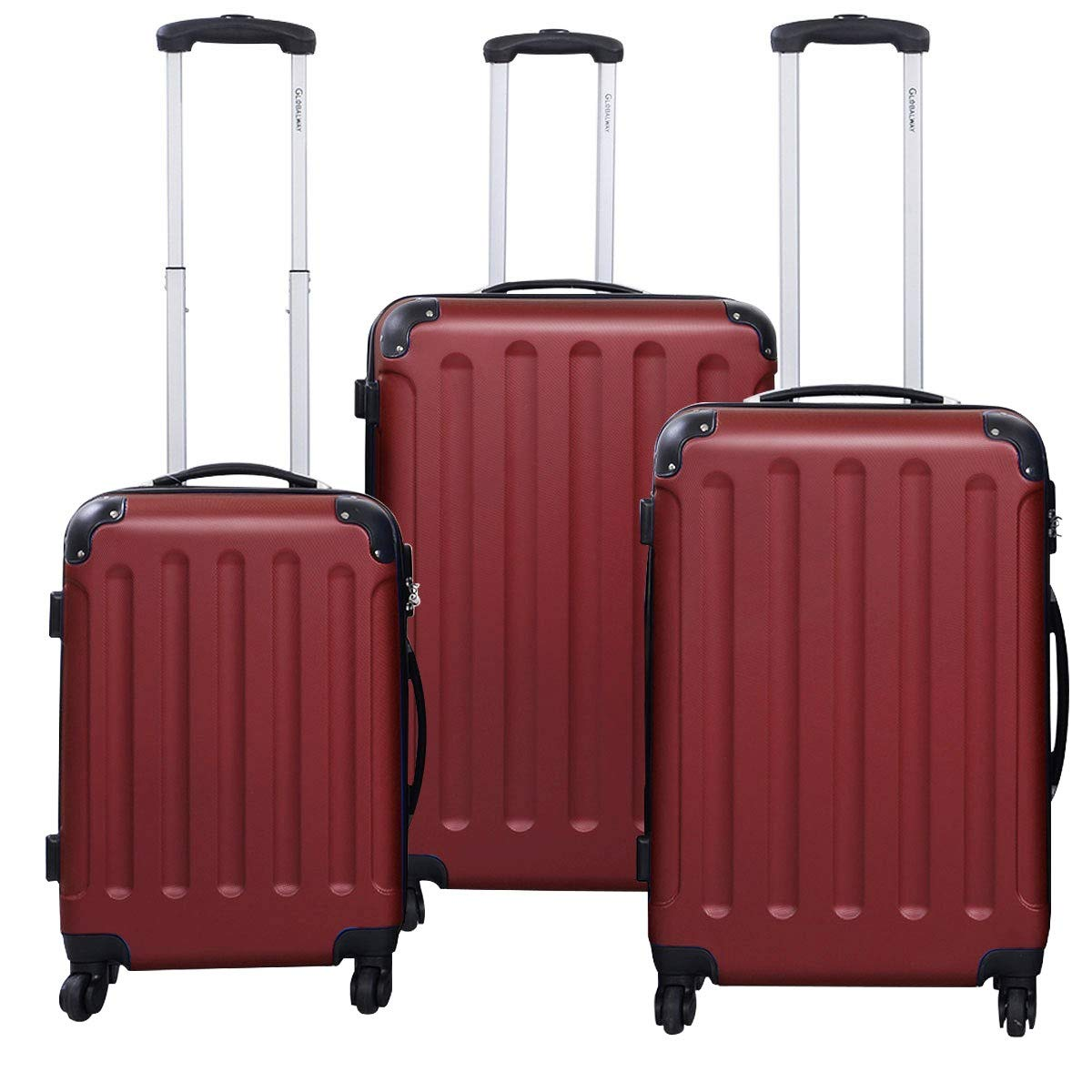 MD Group GLOBALWAY 3 pcs Luggage Trolley Case Set, Wine