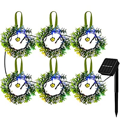 Solarmks Solar String Lights, 6 Artificial Olive Branch Wreaths Solar Powered Christmas Lights,8.5 Ft 8 Modes Outdoor Decorative Lights for Garden Fence Patio Yard Wedding Party Christmas,Multicolor