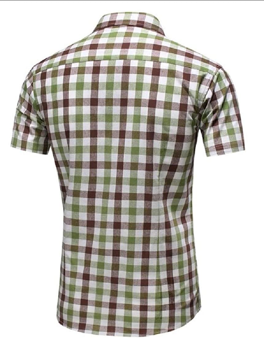 Men Casual Fit Button Down Short Sleeve Plai Shirts