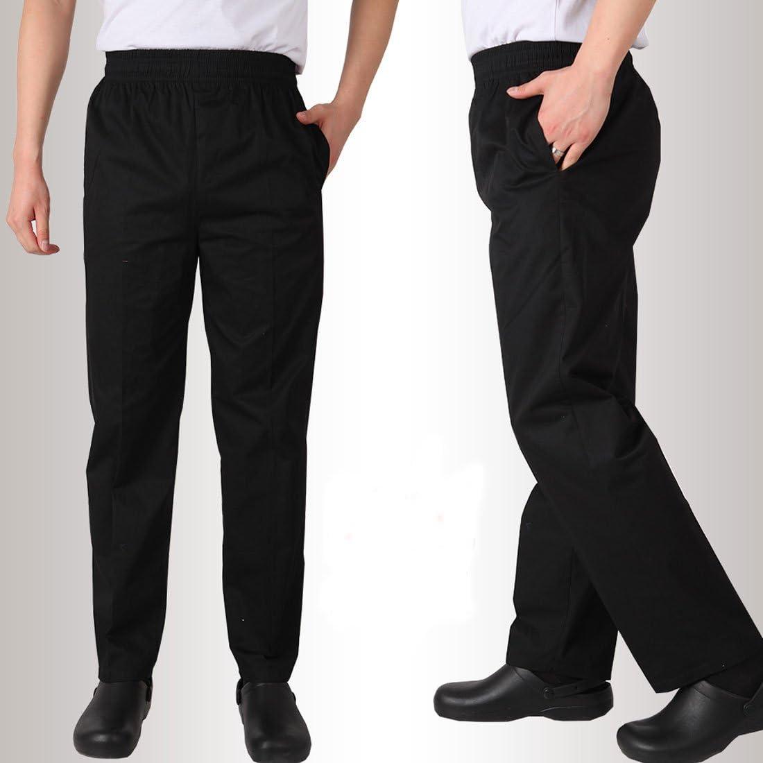Bonarty 2pcs Pantalones de Chef Uniforme de Trabajo de Cocina Tejido Transpirable Suave Cintura El/ástica con Cord/ón Ropas para Cocineros