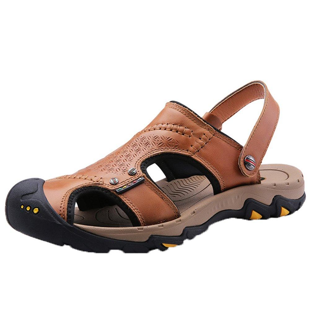 Insun Sandalias de Senderismo para Hombre Cuero Sandalias de Playa Marrón 2