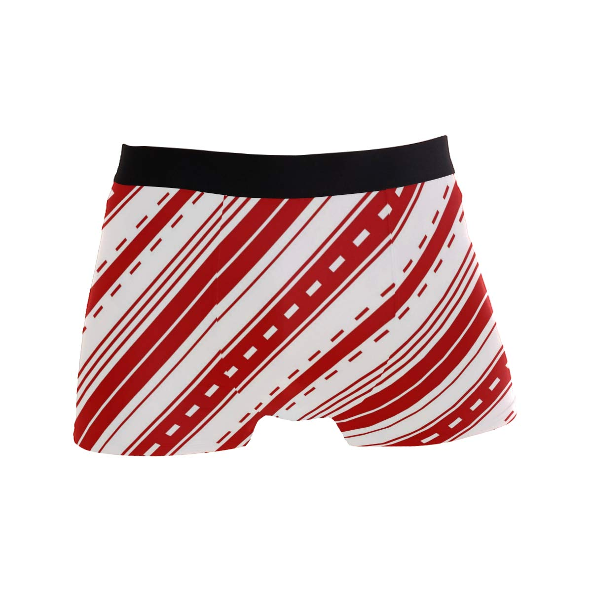 Red Diagonal Striped Decoration Mens Sports Performance Shorts Underwear 2 Pack