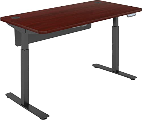 Sunon Electric Standing Desk, 56 x 28 Inches Height Adjustable Two Stage Single Motor Sit Stand Desk with Modesty Board Single Motor Two Grommets, Mahogany