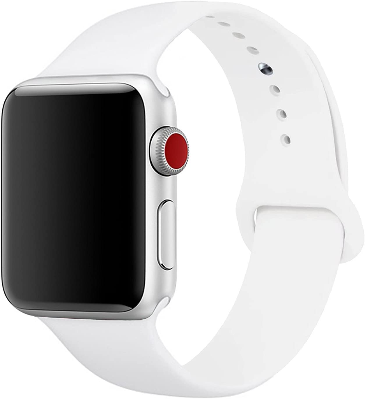 HeiKe Watch Band 38mm Compatible for Apple iWatch,Soft Silicone Sport Replacement Wristband with Holes for Apple iWatch Series 1/2/3/4 Nike+ Edition