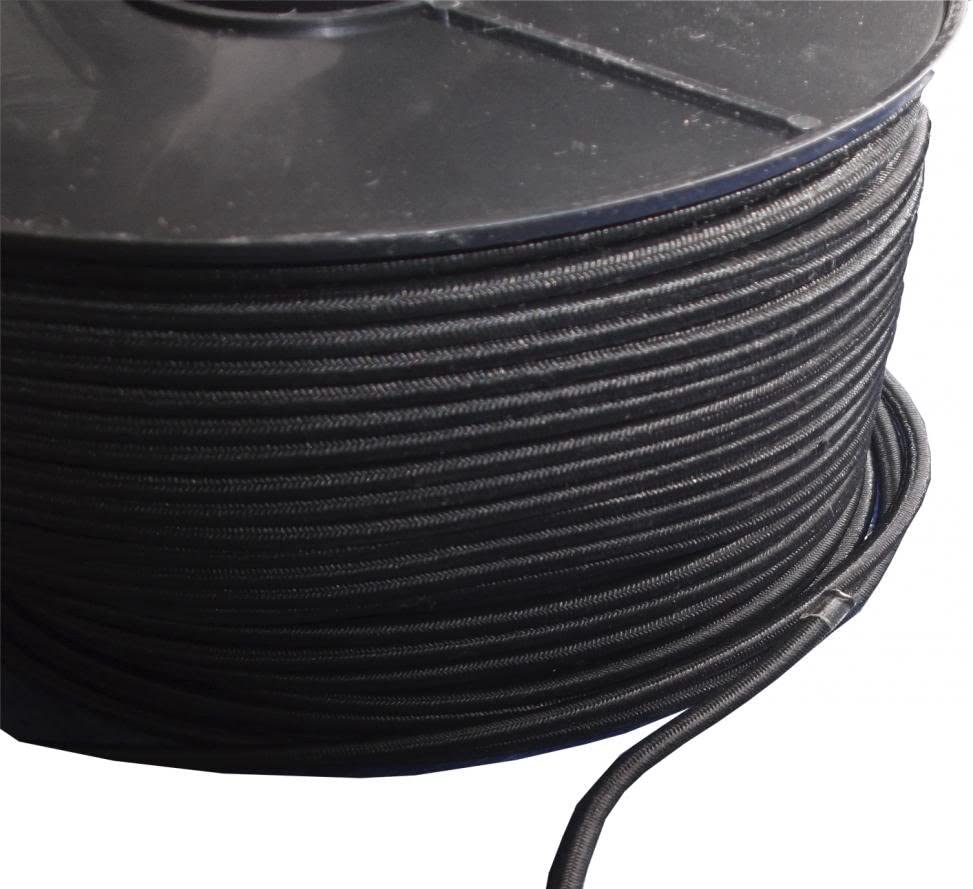 10mm ROUND ELASTIC BUNGEE ROPE SHOCK CORD TIE DOWN BLACK WHITE VARIOUS LENGTHS