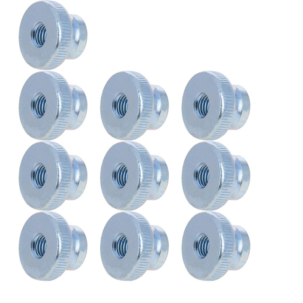 MroMax Knurled Thumb Nuts M10 Round Knobs with Zinc Plating Straight Flower Silver Tone 10pcs